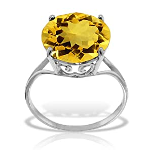 14k Solid White Gold Ring with Natural 12.0 MM Round Citrine - Size 7.5