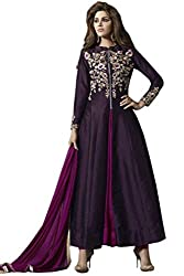 VIHA Women's Purple Embroidered Banglore Silk Unstitched Dress Materials