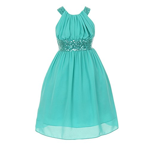 Cinderella Couture Little Girls Jade Dazzling Sequin X Back Pleated Dress 8-14