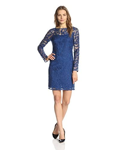 Adrianna Papell Women's Illusion Neckline Beaded Lace Dress