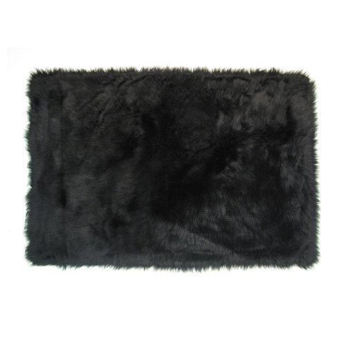 Flokati Area Rug Black 31