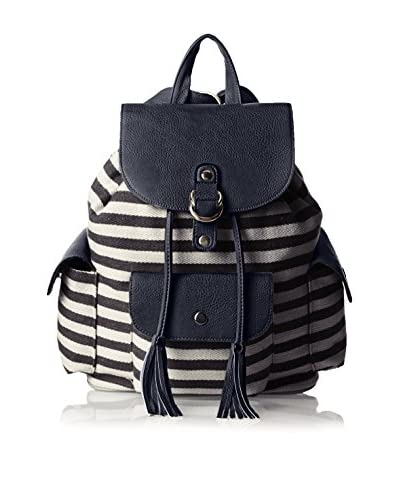 POVERTY FLATS by rian Women's Stripey Backpack, Black/White