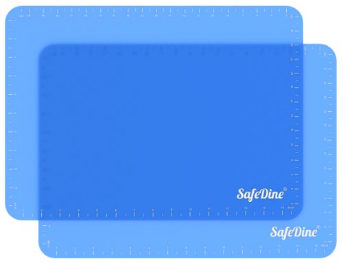 SafeDine Silicone Baking Mat (Set of 2), Translucent Blue Nonstick Sheet with Measurements, Makes Baking Easy, 16 1/8 x 11 3/4 inches Full Size Large, Great for Cookies or as Oven Liner, Bakeware, Kit