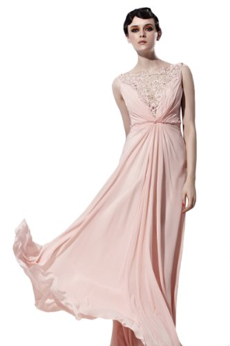 CharliesBridal Bateau Floor Length Mother of the Bride/Groom Evening Dress - XL - Light Pink