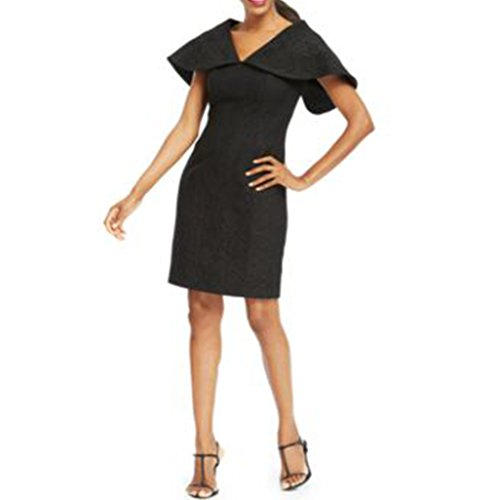 B Michael Metallic-lace Capelet Sheath Black Dress 6