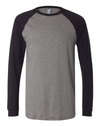 Canvas 3000C Mens Hawthorne Baseball T-Shirt - Deep Heather/Black - S