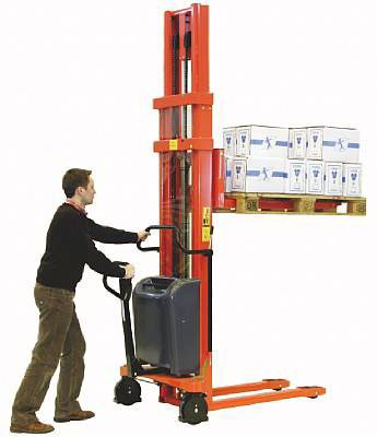 "Beacon Trans-Stacker Fork Over Design - Manual Drive / Electric Lift; Capacity: 3,000 Lbs.; Raised Fork Height: 47""; Lowered Fork Height: 3-1/4""; Fork Width: 6-1/2""; Raised Mast Height: 61""; Lowered Mast Height: 60""; Overall Width: 27""; Overall Length: 68"