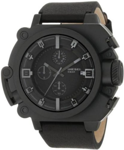 Diesel DZ4243 Men's Oversized Black Ion Plated Leather Strap Black Dial Chronograph Watch