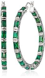 "CZ by Kenneth Jay Lane ""Trend Cubic Zirconia"" Rhodium-Plated Emerald-Shape Hoop Earrings, 12 CTTW"