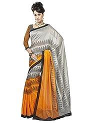 Inddus Exclusive Women Bhagal Puri Silk Printed Orange Saree