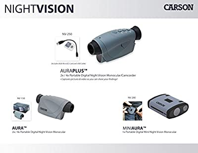 Carson AuraPlus 2x Power Digital Night Vision Camcorder with 8GB MicroSD Card (NV-250) by Carson Optical, Inc :: Night Vision :: Night Vision Online :: Infrared Night Vision :: Night Vision Goggles :: Night Vision Scope
