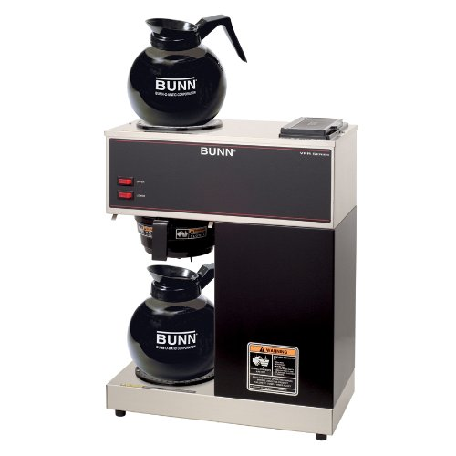 BUNN 33200.0015 VPR-2GD 12-Cup Pourover Commercial Coffee Brewer with Upper and Lower Warmers and Two Glass Decanters, Black (12 Cup Glass Coffee Decanter compare prices)