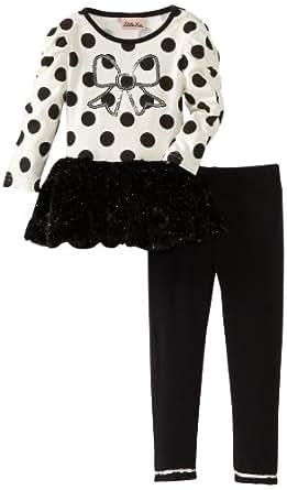 Little Lass Little Girls' 2 Piece Dressy Set With Dots, Black, 3T