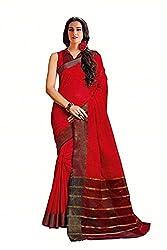 Lemoda Designer Red Zari Border Cotton Blend Saree MMUKE14613900290-70000029