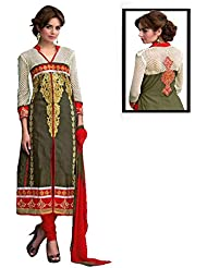 Caffoy Cloth Company Women's Mahendi Color Embroidered Casual Wear Cotton Straight Salwar Suit.
