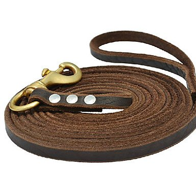 QJYB Cody Durable Cow Leather Leashes with Brass Buckle for Pets Dogs