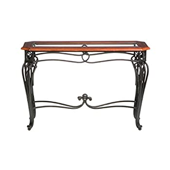 Southern Enterprises Prentice Sofa Console Table, Dark Cherry with Black Finish