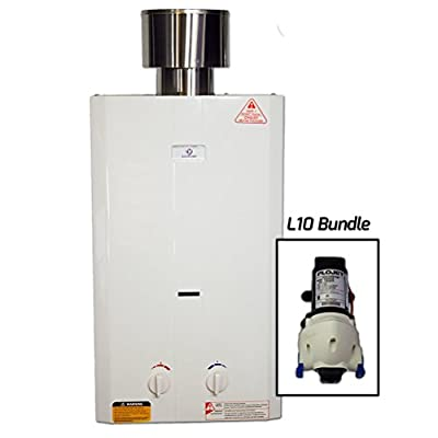 Eccotemp L10 Pump/Strainer Bundle L10 Portable Tankless Water Heater with Flojet Pump/Strainer