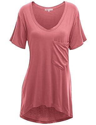 Doublju Womens loose fit U neck Long T-shirt with a pocket (KWTS094)