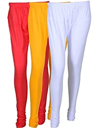 Cotton Leggings (Culture The Dignity Women's Cotton Leggings Combo Of 3_CTDCL_PYW_PINK-YELLOW-WHITE_FREESIZE)