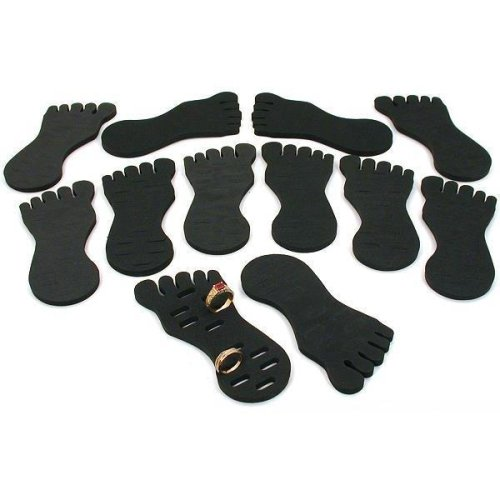 12 Black Toe Ring Foot Foam Displays Body Jewelry 5.25