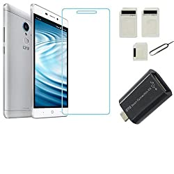 APS GOLD 0.3mm, 2.5D Curved Edge, Anti Explosion Tempered Glass For Reliance JIO LYF Water 7 [Cutout for Proximity Sensor], 9H Hardness, Bubble-free, Reduce Fingerprint, No Rainbow, Oleophobic Coating comes with Alcohol wet cloth pad & clean micro fibre Dry cloth for Reliance JIO LYF Water 7 + Sim Adapter +OTG Adapter