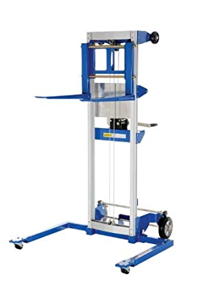 """Vestil A-LIFT-S Adjustable Straddle Hand Winch Lift Truck, 42-1/2"""" Length, 43-1/4"""" Width, 68"""" Height, 500 lbs Capacity"""