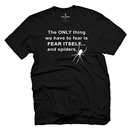 Glit-Z Men's Fear Nothing But Fear Spiders Vintage T Shirt