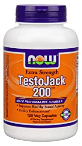 Now Foods Testo Jack 200 Extra Strength Veg Capsules, 120 Count