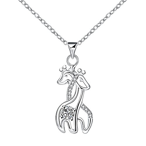 Kalapure Crystal Two Cute Hugging Giraffes Deer Elk Plated Silver Necklace For Mother's Day Gifts