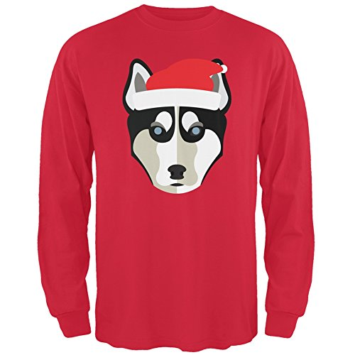 Husky Santa Ugly Christmas Sweater Red Long Sleeve - Large