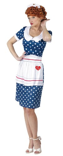 Blue Sassy I Love Lucy Lucille Ball Costume, Wig, Apron, Bow