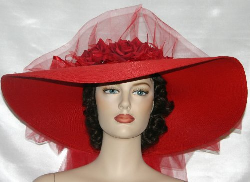 "Kentucky Derby Hat Southern Belle Hat ""Red Simplicity"" 22"" Brim"