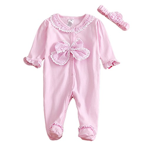 Baby Girl Sleep and Play Sleepers Snap-Front Coverall and Hat Set Long Sleeve Bowknot Footie Romper 0-3 Months Pink