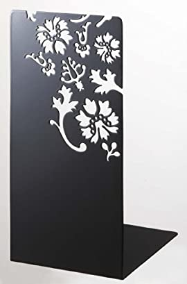 Kirie - A Pair of Black Metal Bookends with Flower Cutout Pattern, 10