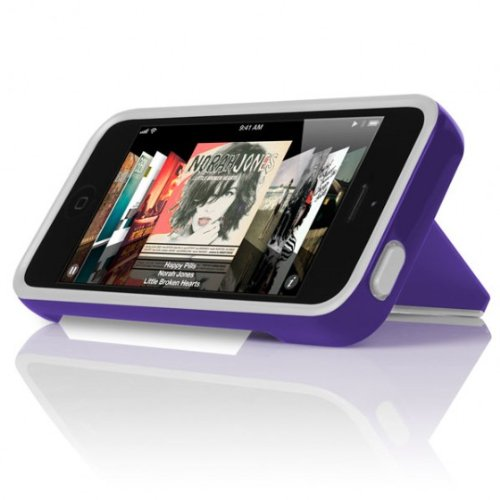 Great Price INCIPIO STOWAWAY Hybrid Case w/ Credit Card Holder IPH-852 (White) for Apple iPhone 5 (Purple)