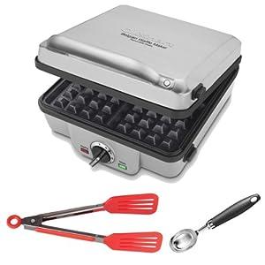 Cuisinart WAF300 4-Slice Belgian Waffle Maker w  Pancake Plates + 8-Inch Nylon Flipper... by Cuisinart