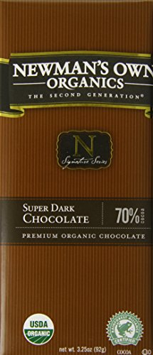 Newman's Own Organics Organic Premium Chocolate Bar, Super Dark 70% Cocoa, 3.25-Ounce Bars (Pack of 12)