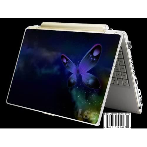 Laptop Skin Shop Laptop Notebook Skin Sticker Cover Art Decal Fits 13.3 14 15.6 16 HP Dell Lenovo Asus Compaq (Free 2 Wrist Pad Included) Purple Blue Butterfly