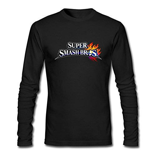 TIANRUN Men's Super Smash Bros New Interesting Game Logo Long Sleeves T-shirt Size XXXL