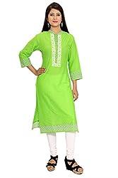 Beautiful Cotton Traditional Womens Kurta (L, Green)