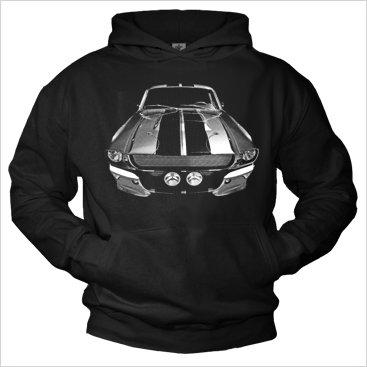 Mens Hoodie black 1968 Mustang Hooded Sweatshirt Pullover L