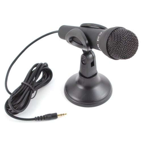 Black Mini 3.5Mm Stereo Studio Speech Microphone Mic W Stand Mount For Pc Laptop