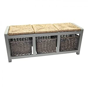 Wooden Grey Bench 3 Seater with Under Storage Willow Baskets in Grey & Natural Willow Seating. Great Additional seating with Storage for use in the home. Size: W110 x D36 x H44cm.