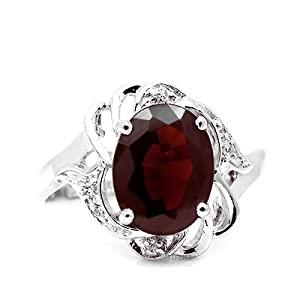 100% Genuine Nature Garnet CZ Diamonds 925 Sterling Silver 18K White Gold Plating Ring Gem Fine Jewellery-SizeU