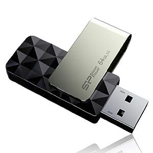 Silicon Power 64GB Blaze B30 USB 3.0 Swivel Flash Drive R/W up to 120/50 MB/s, Black (SP064GBUF3B30V1K)
