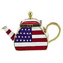 American Flag Mini Porcelain Teapot by Kelvin Chen ENK756