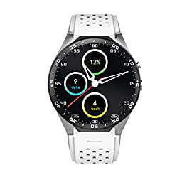 LOLERS Bluetooth Smartwatch KW88 MT6580 Quad Core 1.39 inch Amoled OGS Screen 3G Calling Pedometer Heart Rate Monitor 5.0MP RC Camera GPS WiFi Android 5.1 (White)