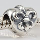Fleur De Lis Flower Love Heart Authentic 925 Sterling Silver Bead Fits Pandora Chamilia Biagi Troll Charms Europen Style Bracelets