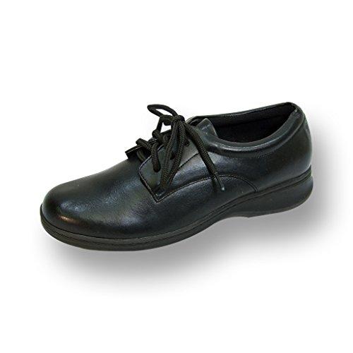 HOUR COMFORT Alice Women Extra Wide Width Lace Up Shoe BLACK 10